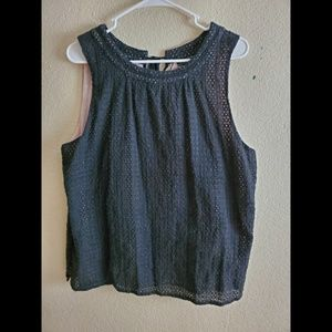 Lucky Brand Black Lace Sleeveless Top Large